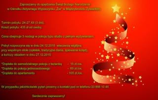 """Zapraszamy do spędzenia Świąt Bożego Narodzenia         w Ośrodku Aktywnego Wypoczynku """"Żar"""" w Międzybrodziu Żywieckim."""